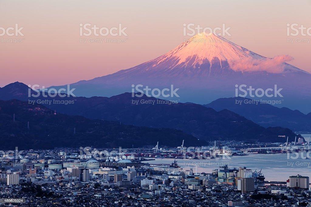 Shizuoka city town and Mountain Fuji at sunset stock photo