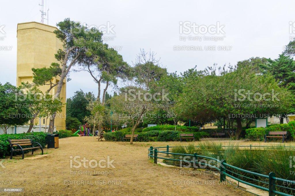Shmuel Hacohen Garden, and an old water tower, in Haifa stock photo
