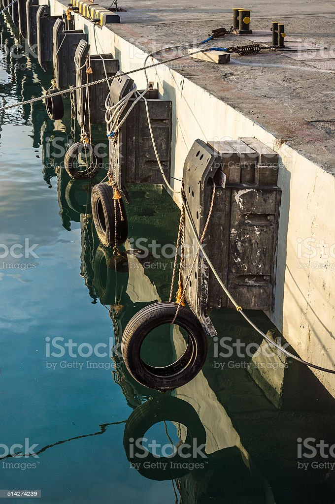 Shock absorption for the ships stock photo