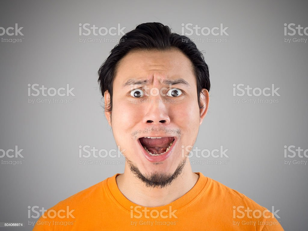 Shock and surprise face. stock photo