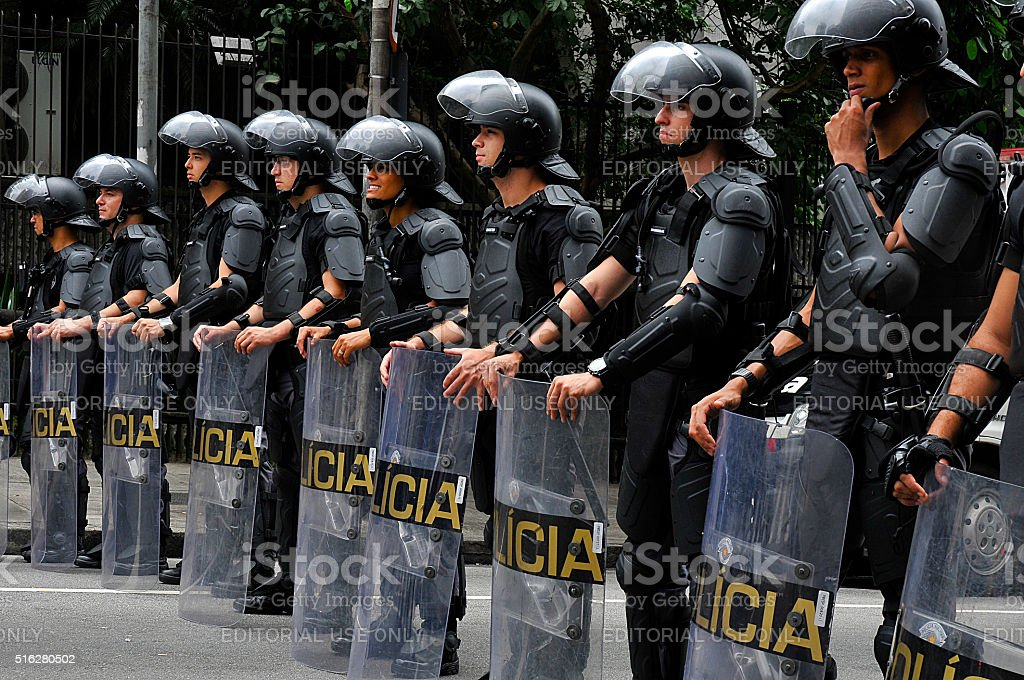 Shock troops of military police of the State of São Paulo stock photo