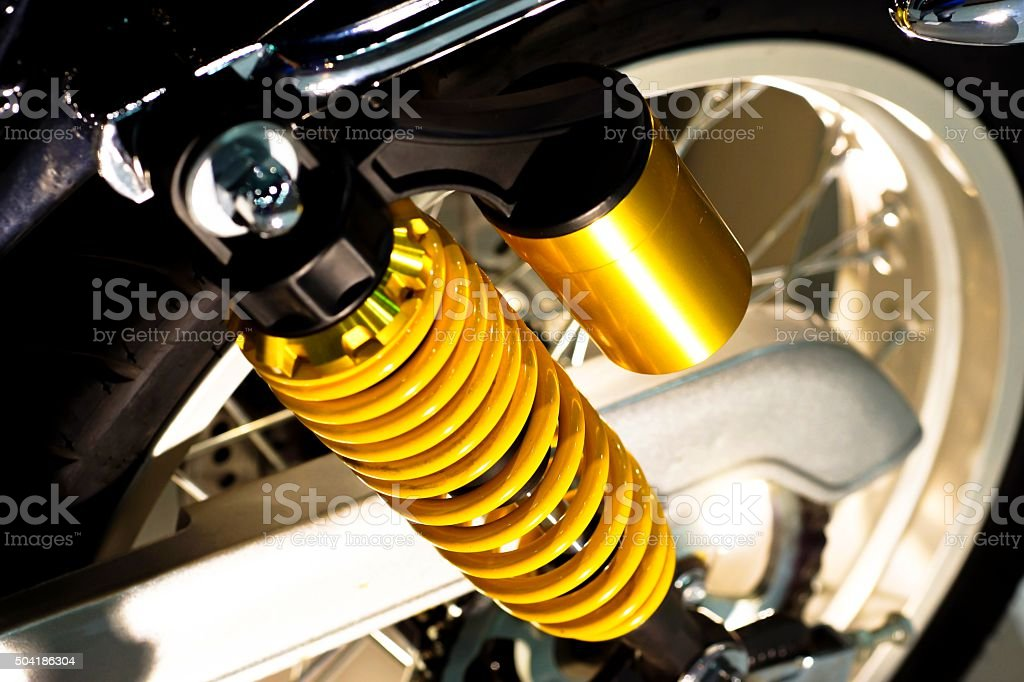 Shock with motorcycle stock photo