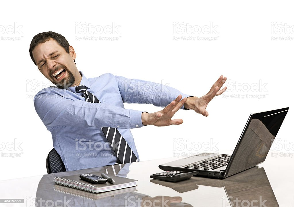 shocked businessman with eyes closed is against uncensored Internet content stock photo