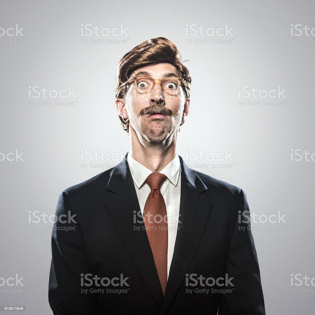 Shocked CEO in Business Suit stock photo