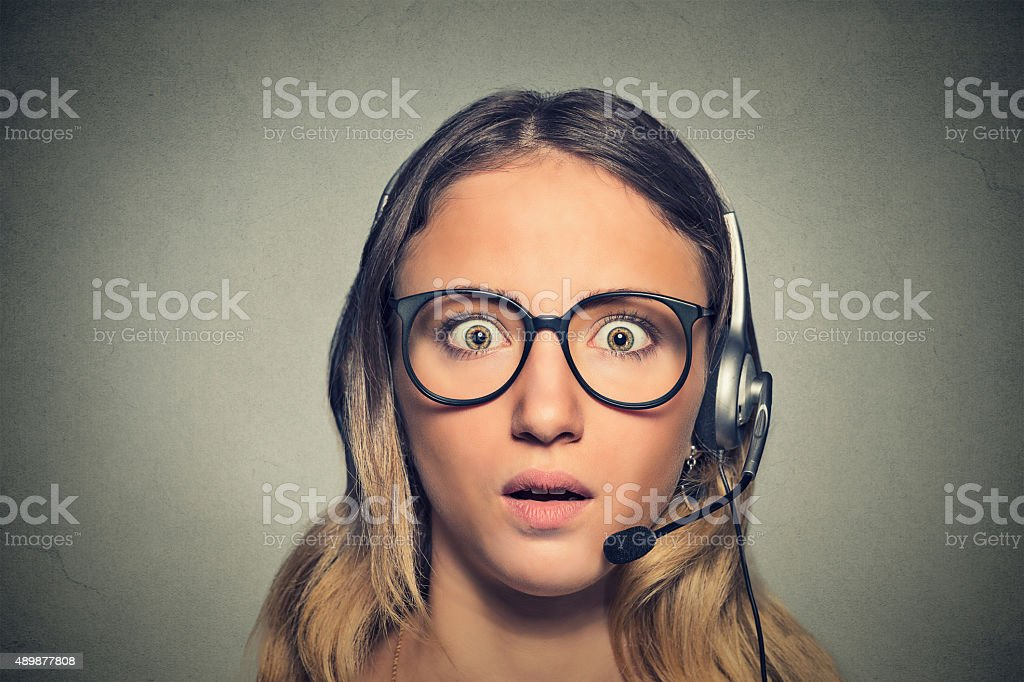 shocked customer service representative stock photo