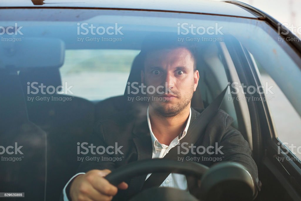 shocked driver stock photo