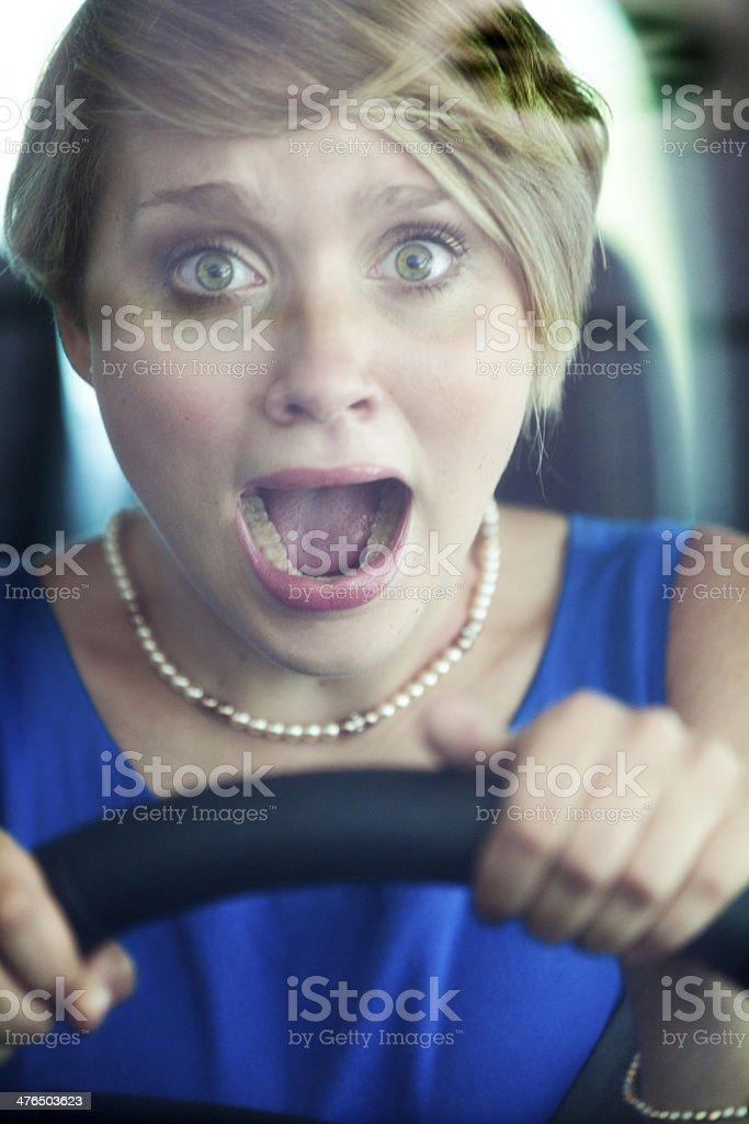 Shocked female driver. royalty-free stock photo