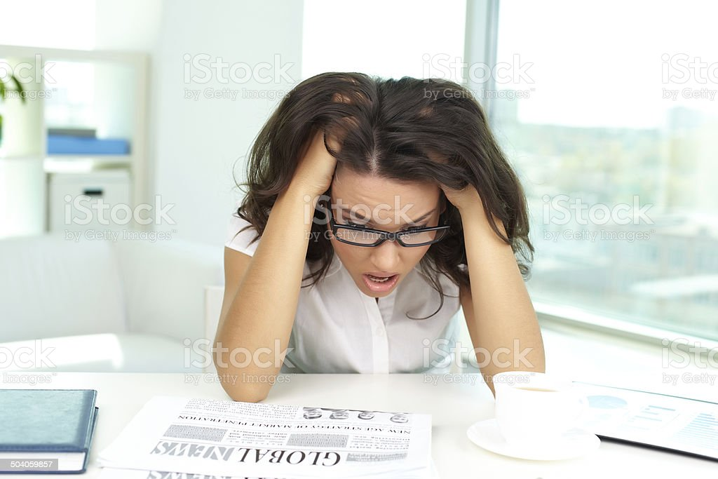 Shocked female stock photo