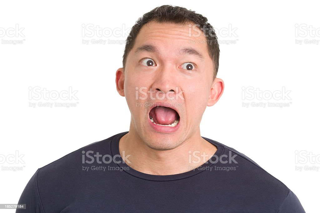 Shocked Gasping Asian Man stock photo