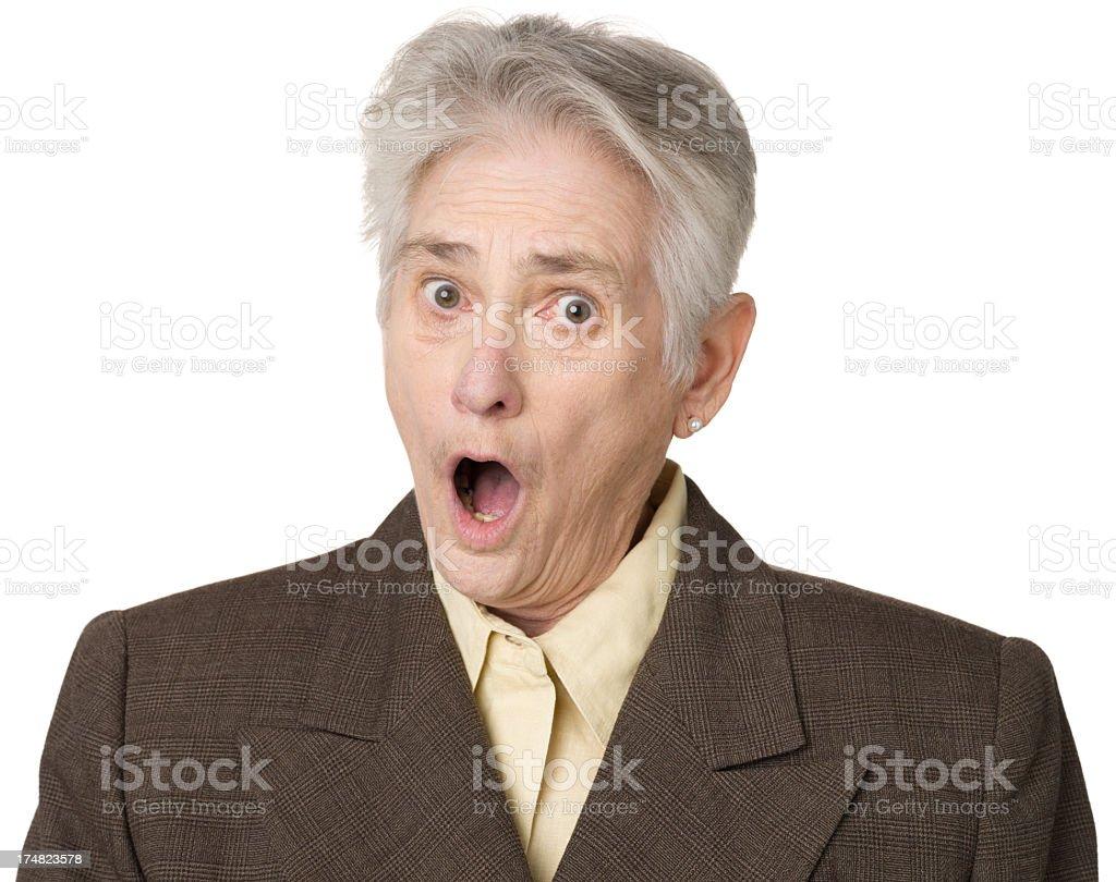Shocked Gasping Senior Woman royalty-free stock photo