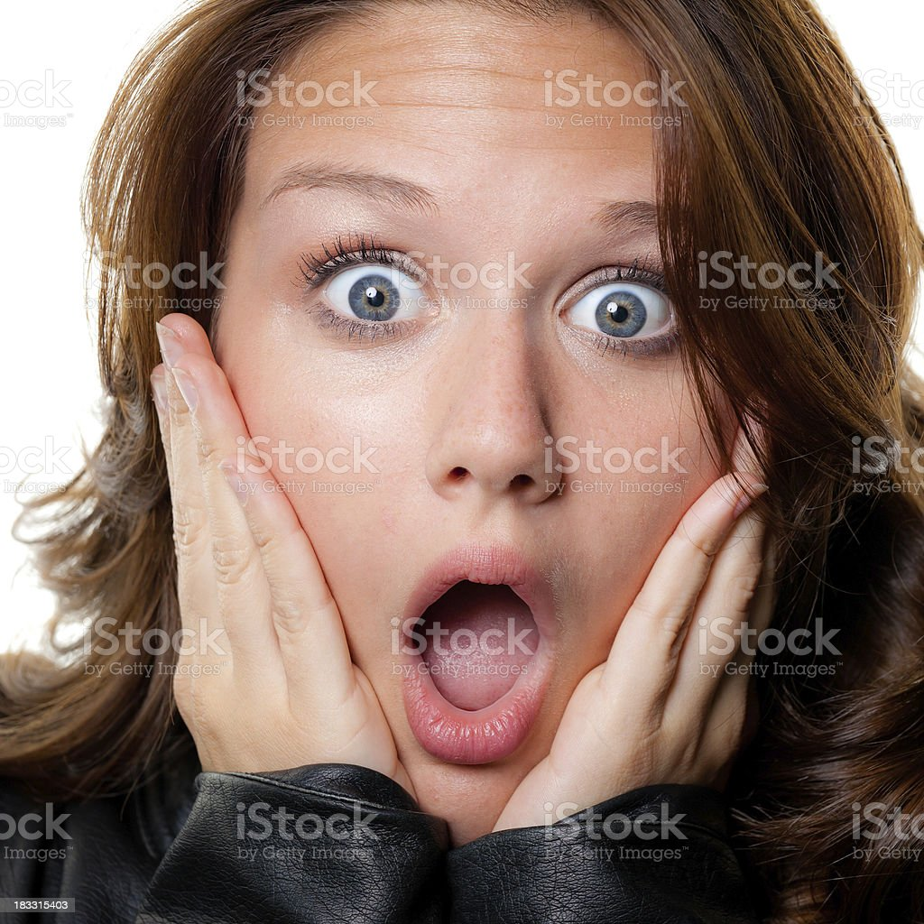 Shocked Gasping Young Woman Close-up Headshot royalty-free stock photo