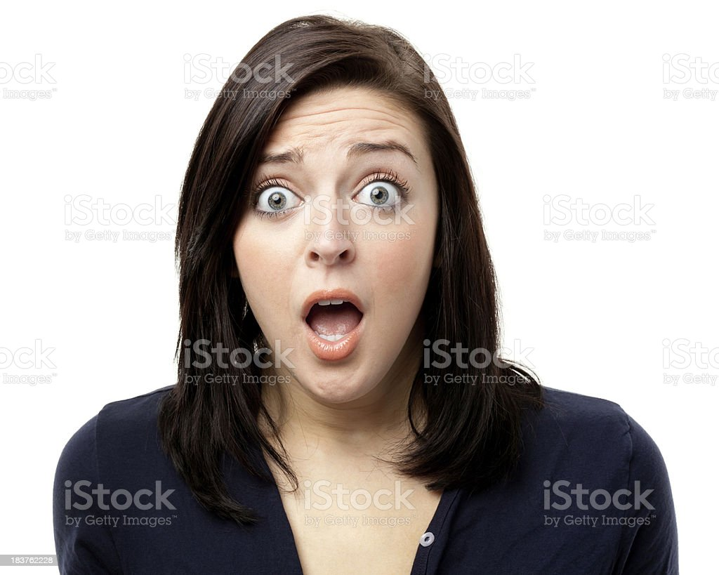 Shocked Gasping Young Woman stock photo