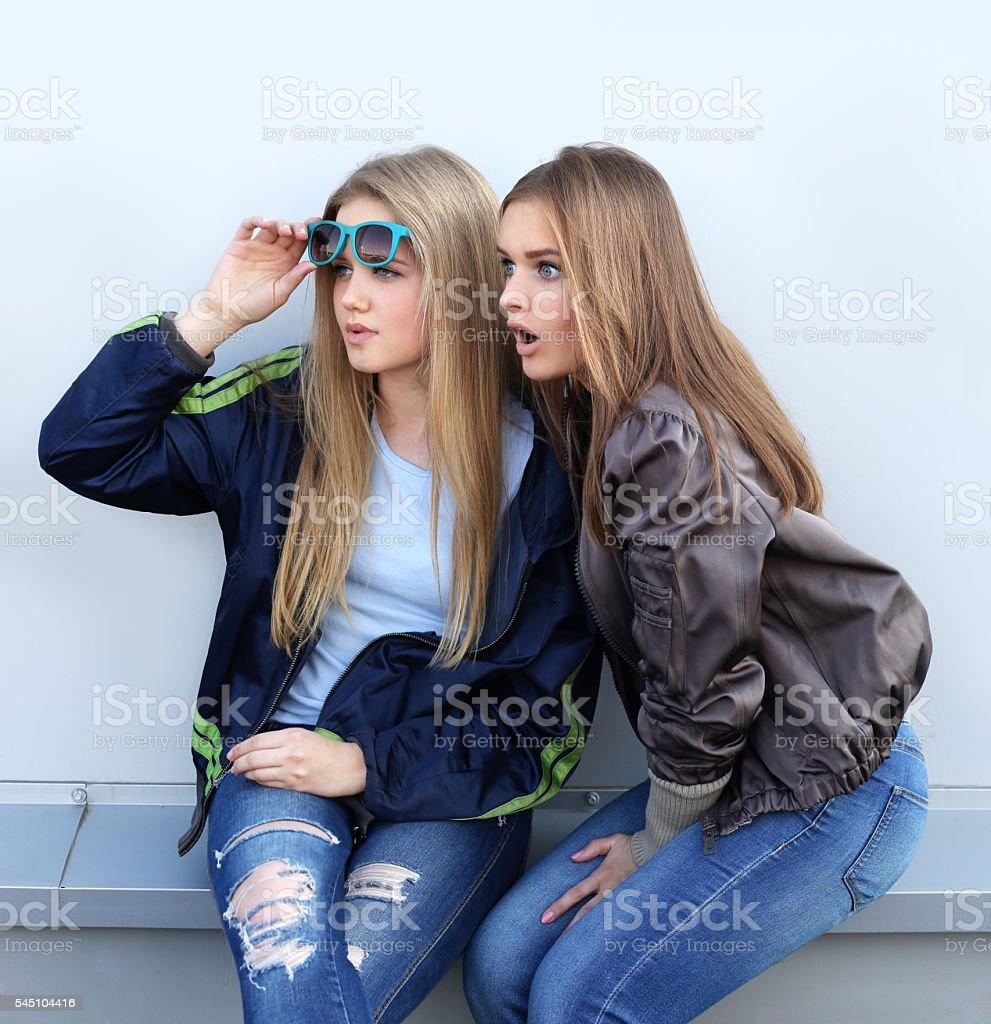Shocked girls stock photo