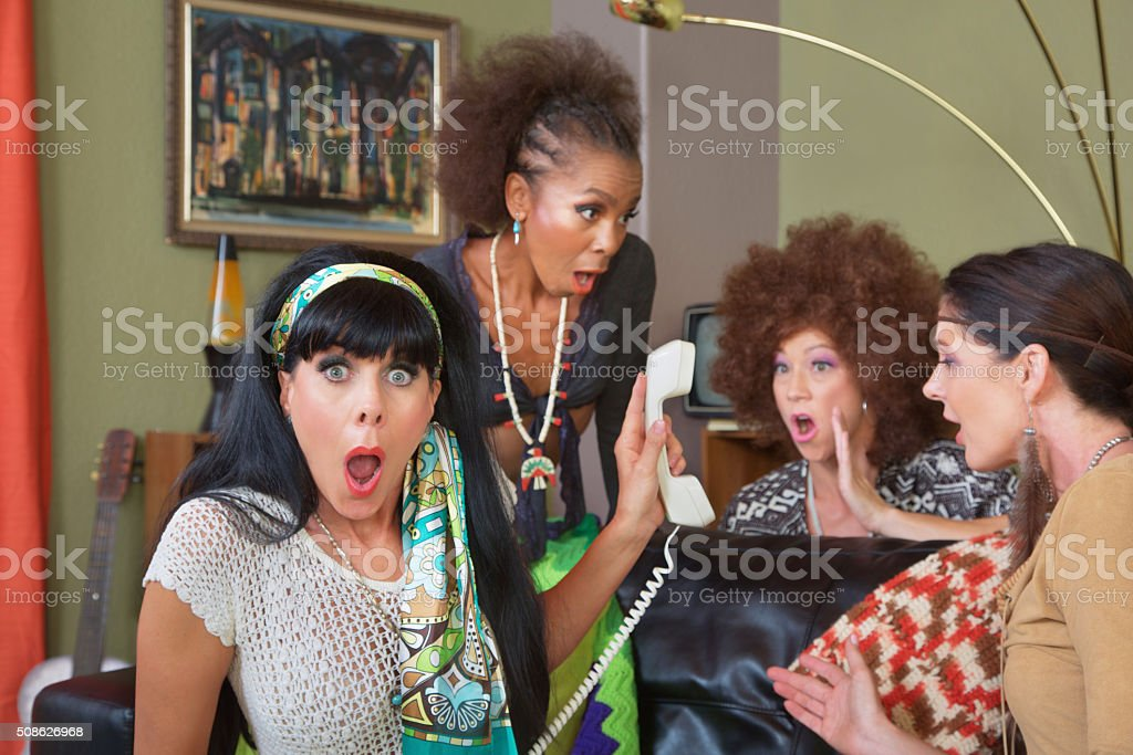 Shocked Ladies on Phone stock photo