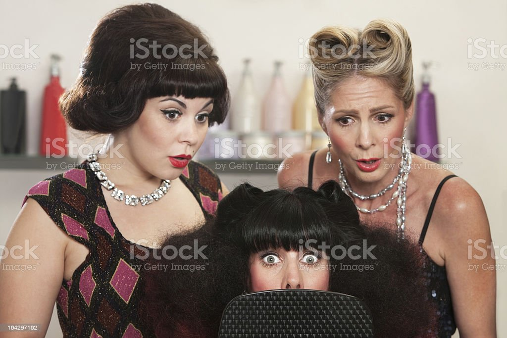 Shocked Lady in Hair Salon royalty-free stock photo