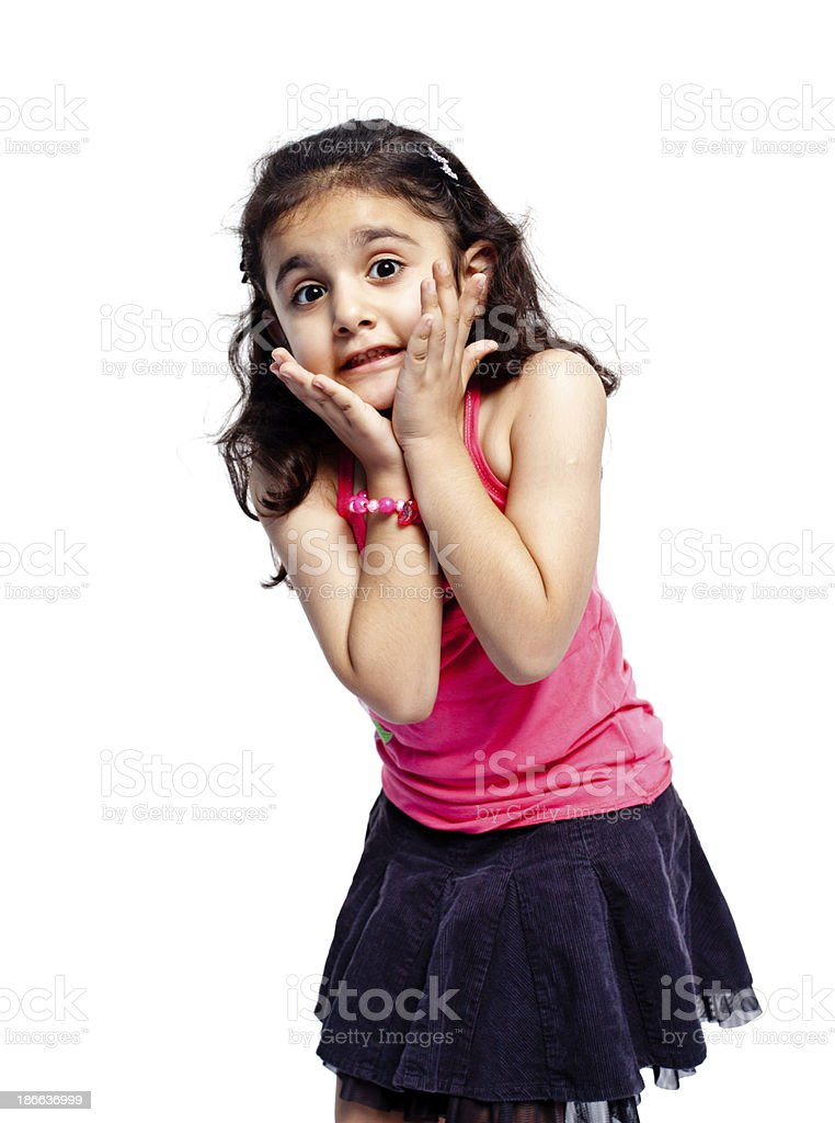Shocked Little Indian Girl Isolated on White royalty-free stock photo