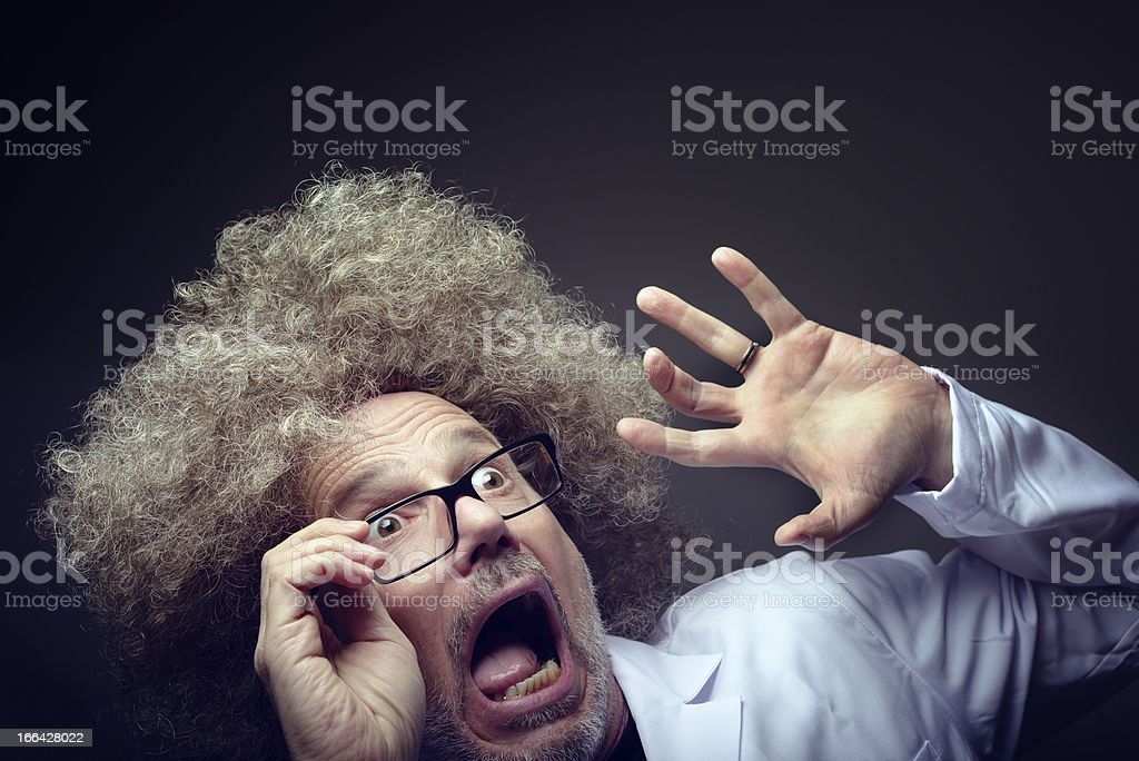 Shocked Mad Scientist stock photo