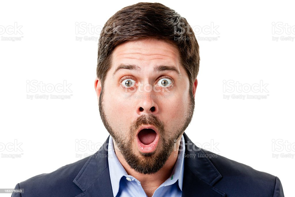 Shocked Man Gasps And Raises Eyebrows stock photo