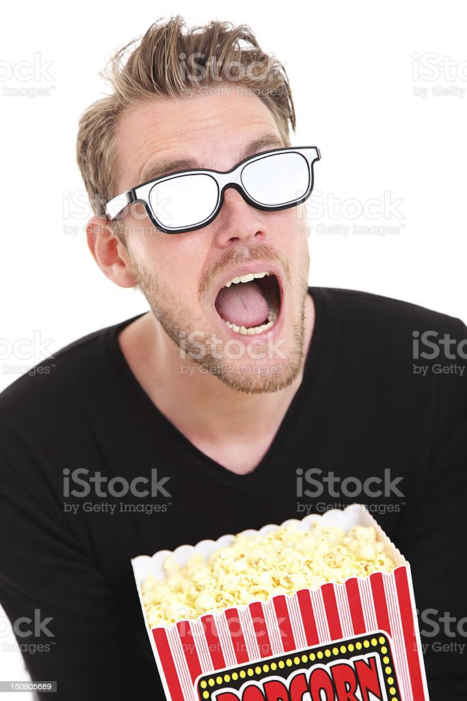 Shocked man in 3D-glasses royalty-free stock photo