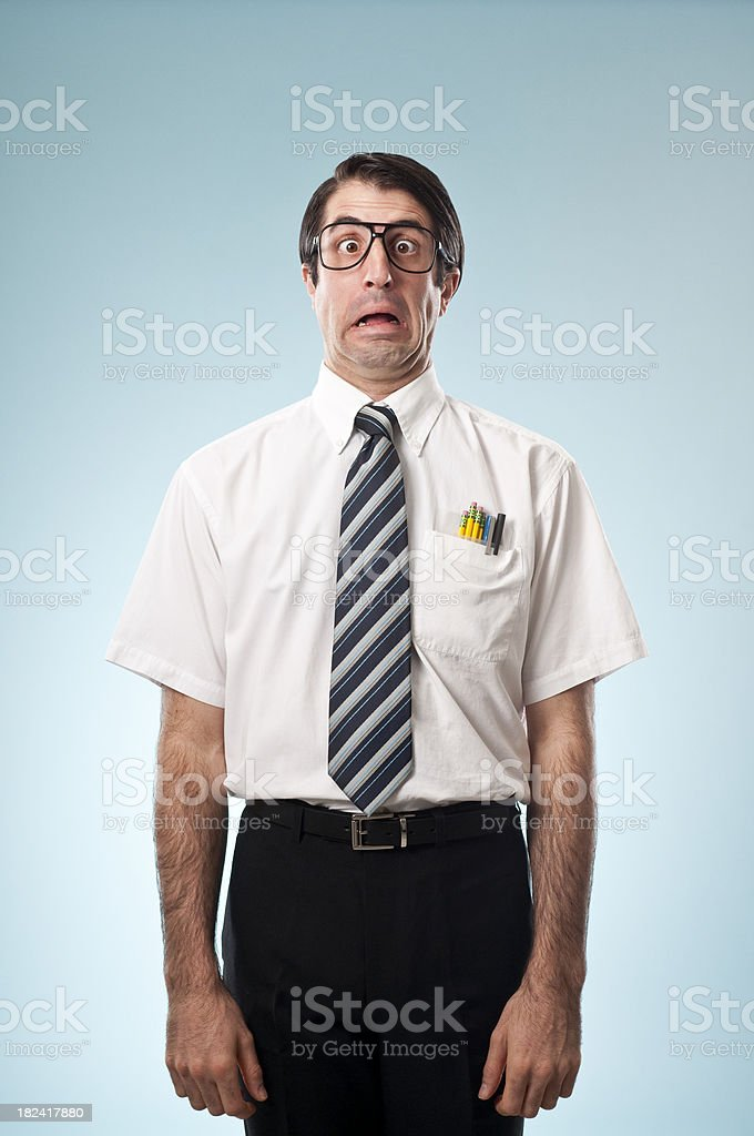 Shocked Nerdy Office Worker royalty-free stock photo