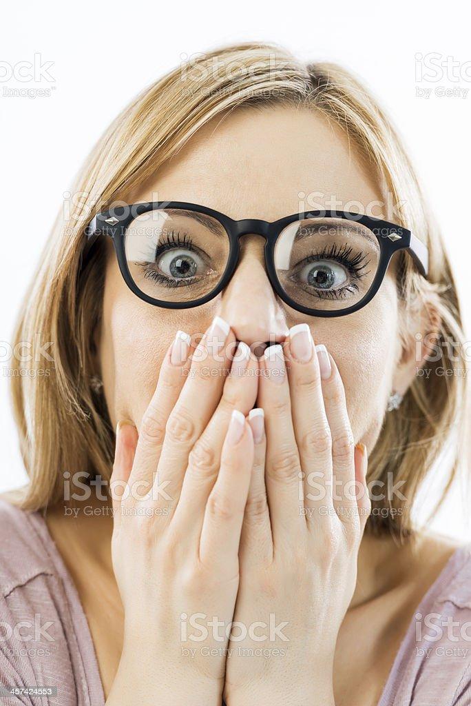 Shocked nerdy woman. stock photo