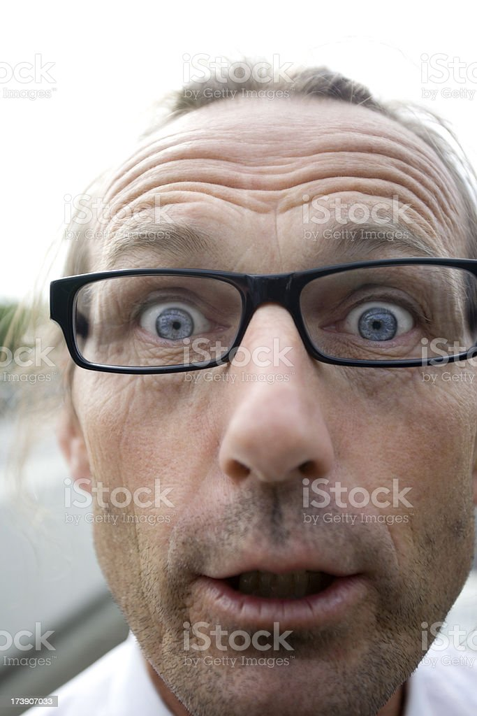 Shocked Old Business Man With Glasses royalty-free stock photo