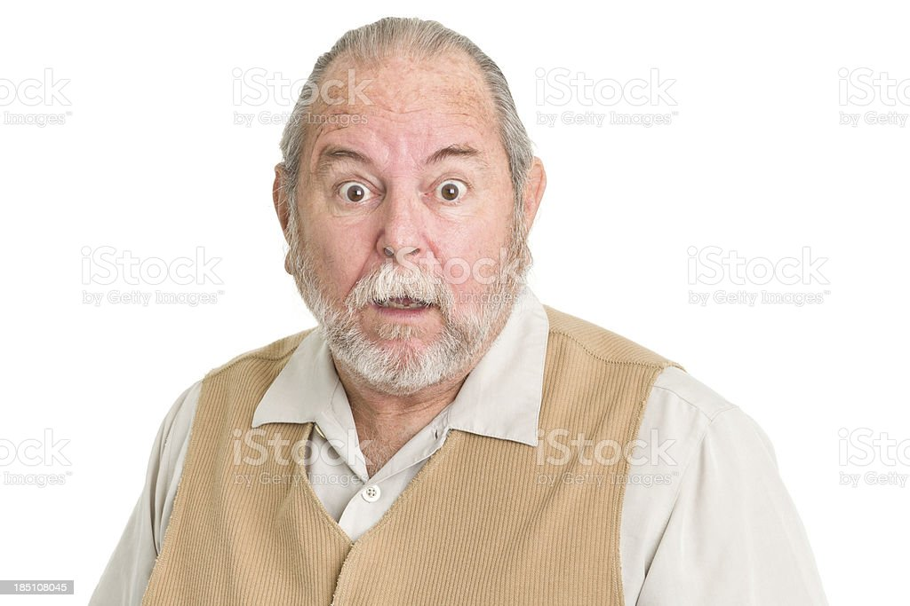 Shocked Senior Man Staring At Camera stock photo