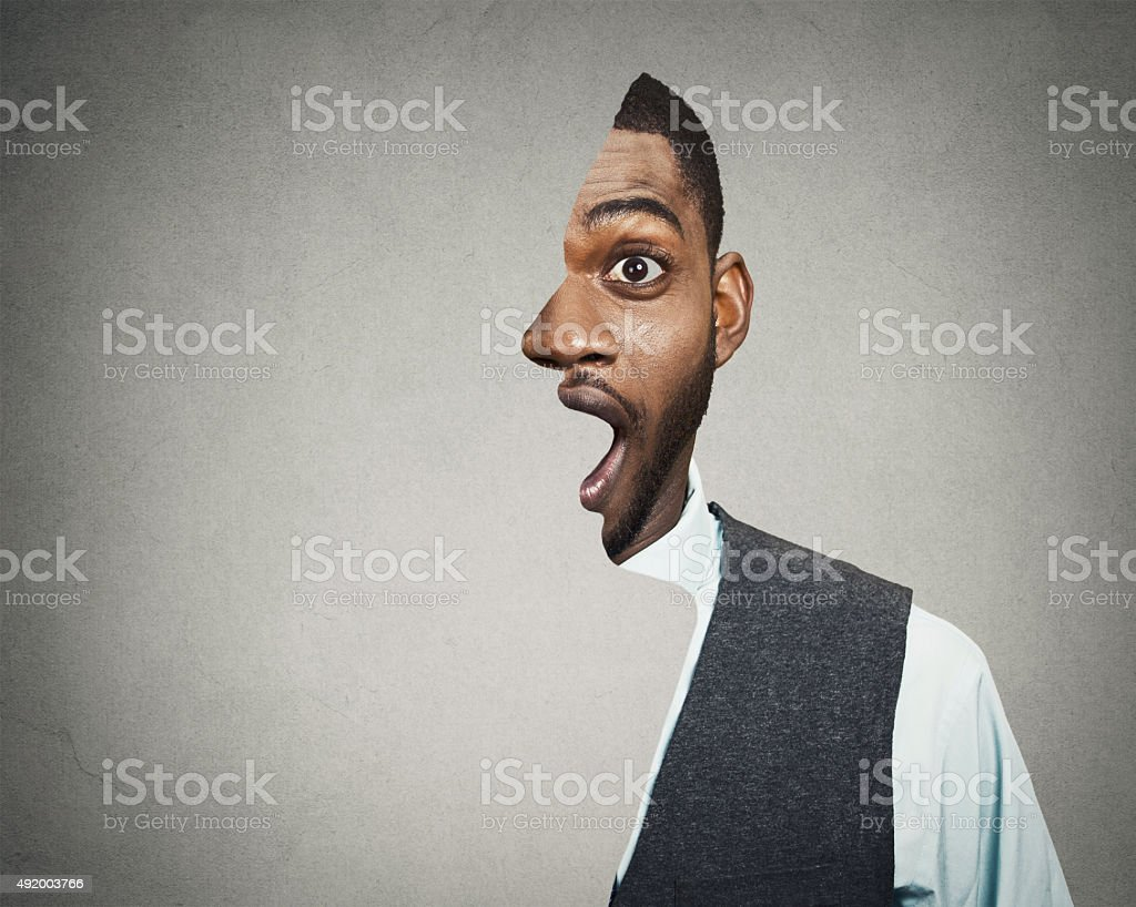 Shocked, surprised business man stock photo