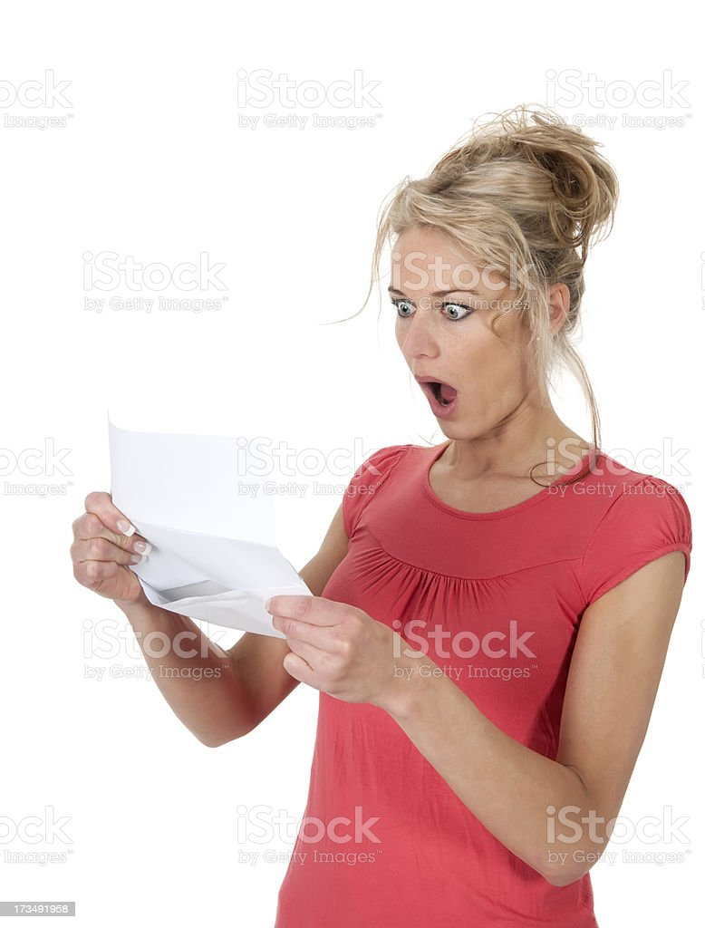 shocked woman getting bad news stock photo