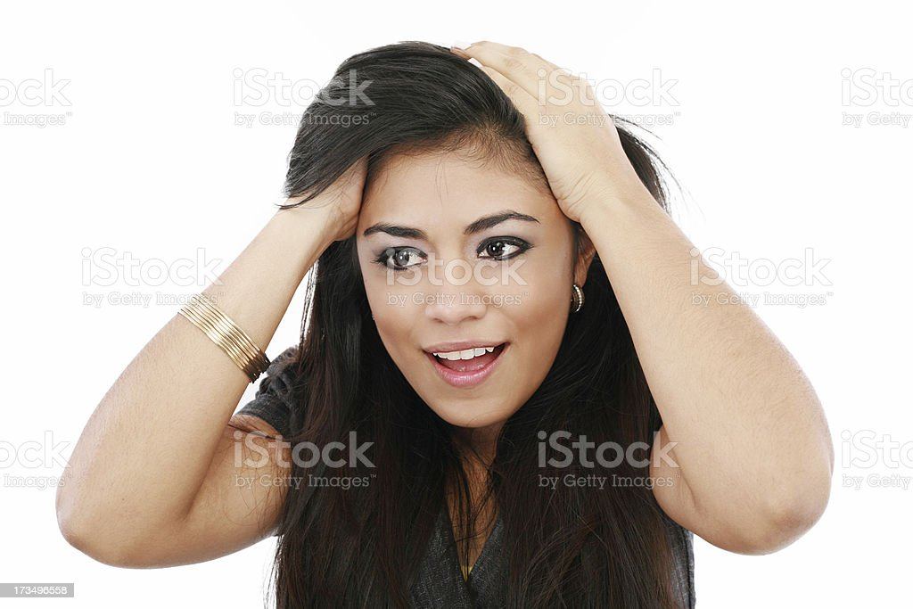Shocked woman, girl gaping in surprise royalty-free stock photo
