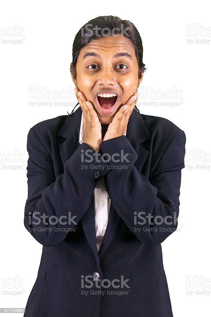 Shocked woman stock photo