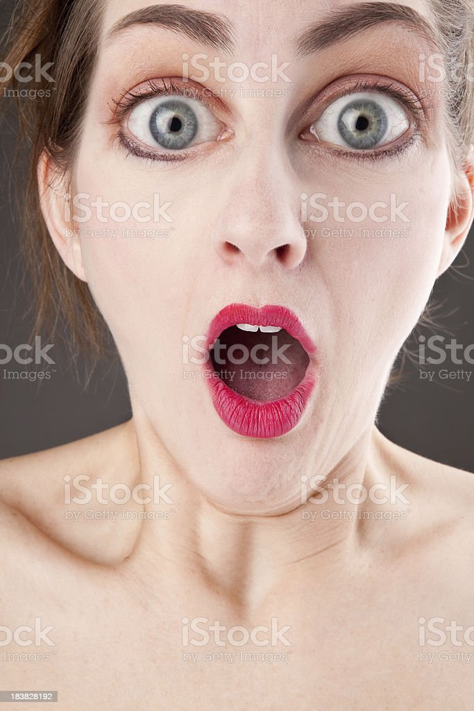 Shocked Woman With Big Eyes royalty-free stock photo