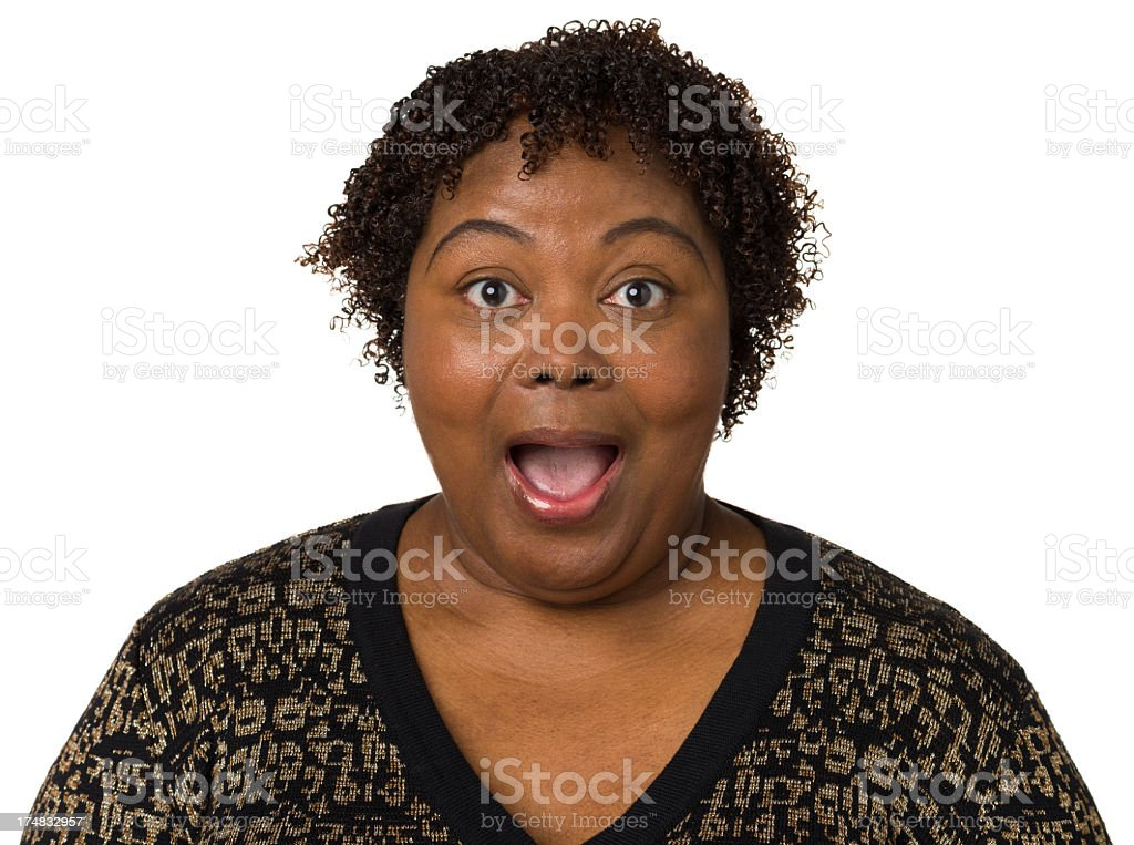 Shocked Woman With Mouth Open royalty-free stock photo