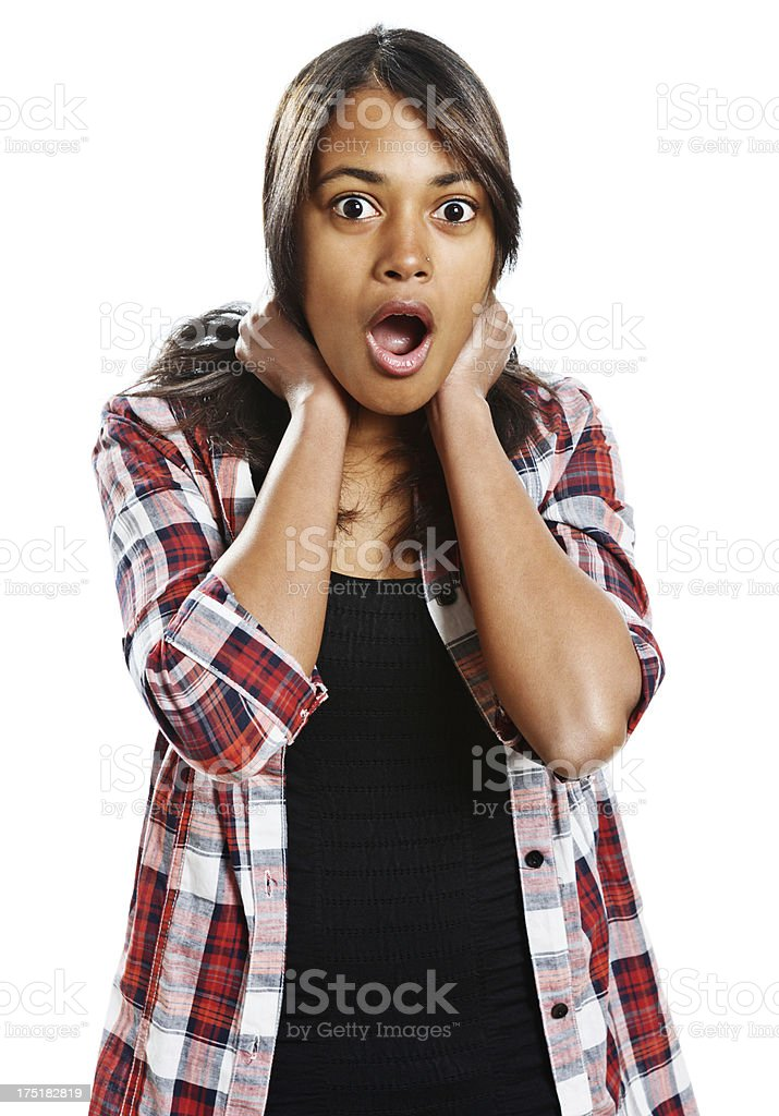 Shocked young beauty gasps in horror royalty-free stock photo
