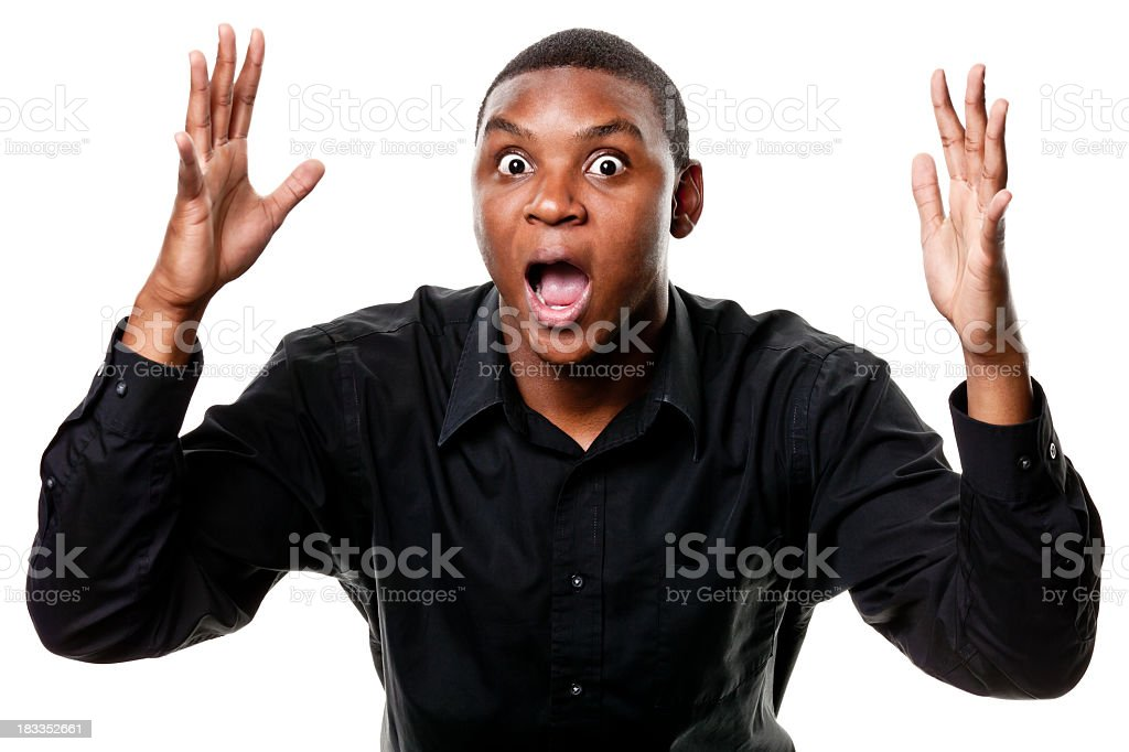 Shocked Young Man Gasping With Arms Up stock photo