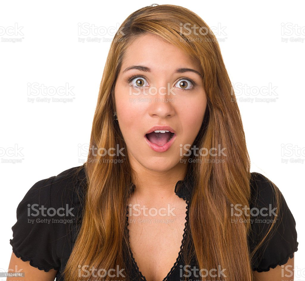 Shocked Young Woman Gasping royalty-free stock photo
