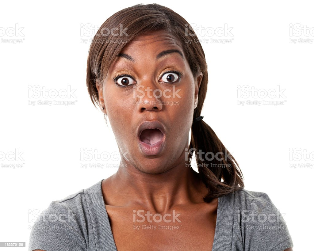 Shocked Young Woman Gasps stock photo