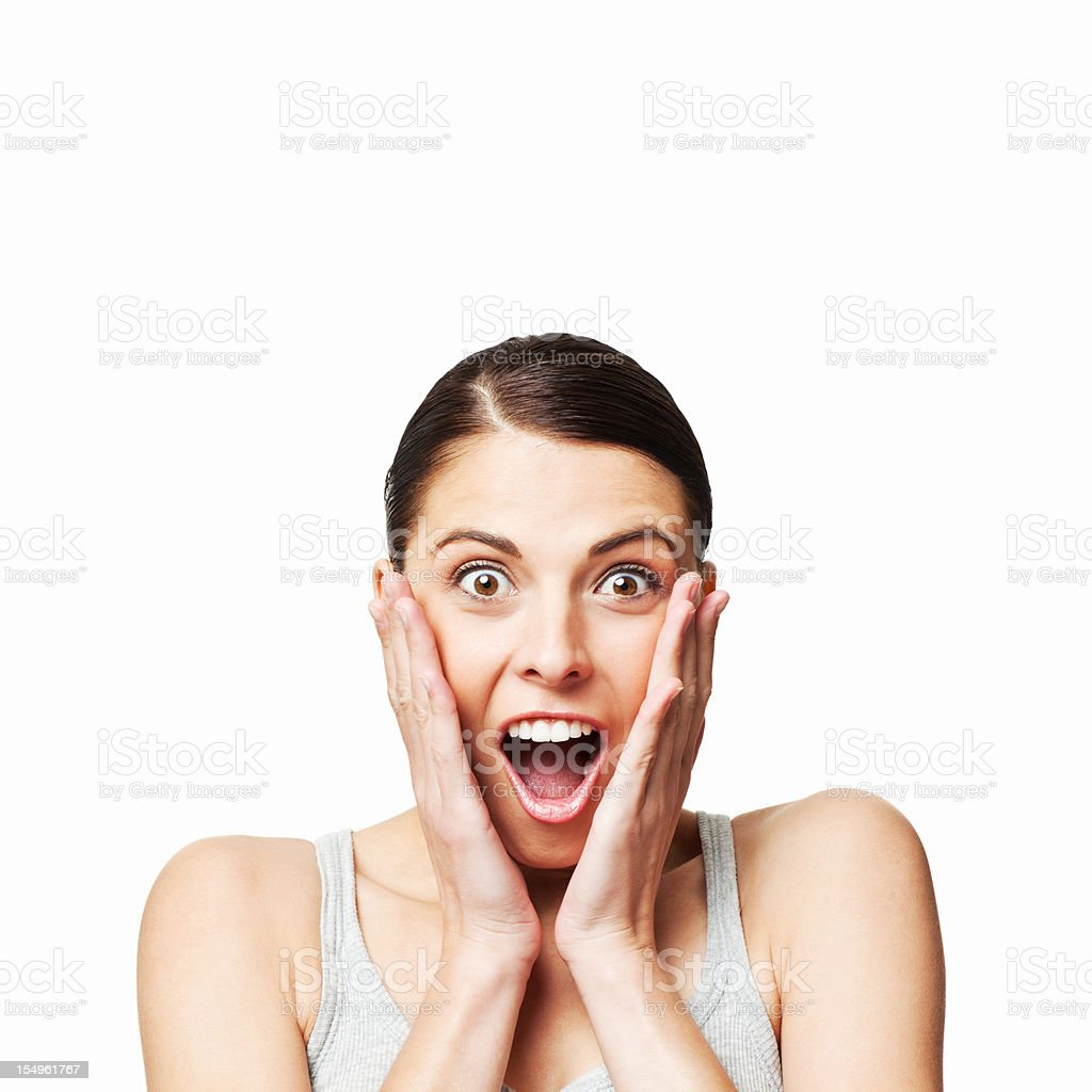 Shocked Young Woman - Isolated royalty-free stock photo
