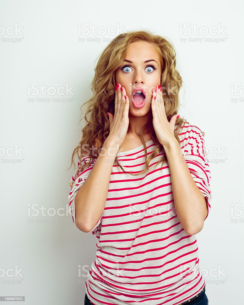 Shocked young woman stock photo