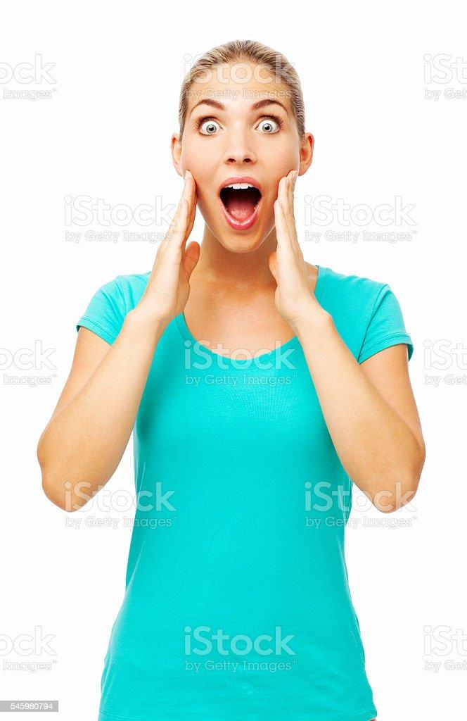 Shocked Young Woman Touching Cheek stock photo