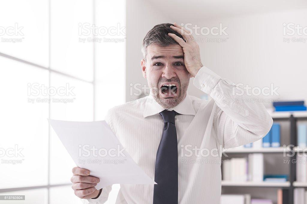 Shocking expensive bills stock photo