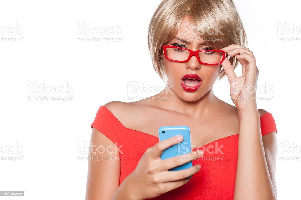 shocking text message stock photo