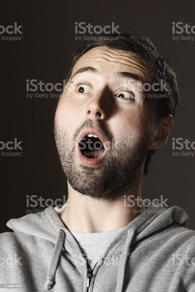Shocking young man portrait. royalty-free stock photo
