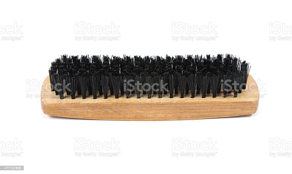 shoe brush on white background stock photo
