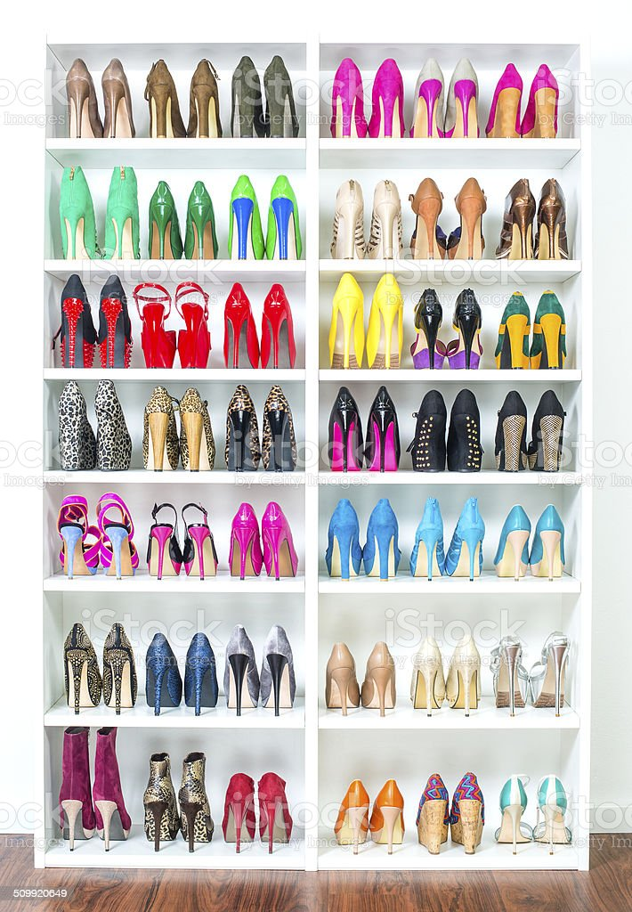 Shoe Closet with lots of colorful High Heels, XXXL image stock photo
