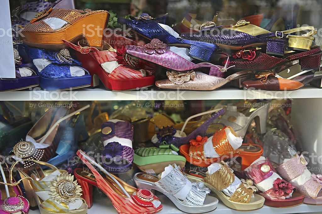 Shoe Collection in Crazy London, England. stock photo