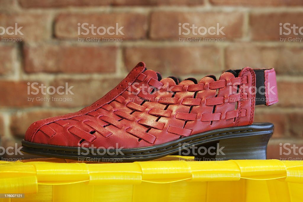 Shoe Fashion Leather Weave Footwear stock photo