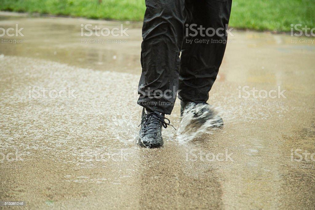 Shoe in the rain stock photo