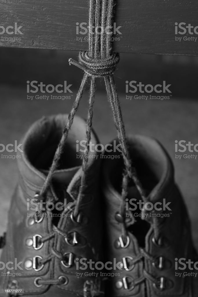 Shoe laces of Work Boots stock photo