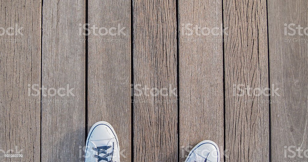 shoe on wooden floor stock photo